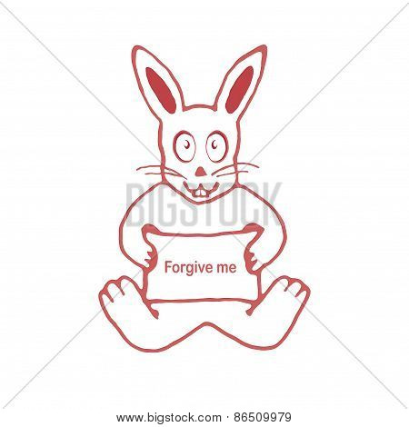 Cute Rabbit With Forgive Me Text Banner Drawing