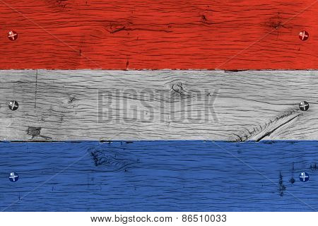 The Netherlands National Flag Painted Old Oak Wood Fastened