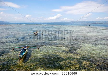 Fishing Boats At Ocean Bay Near Coast Indonesia