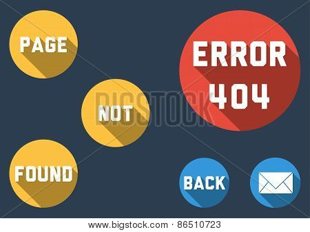 Modern Template For Error 404 - Page Not Found With Colorful Bubbles