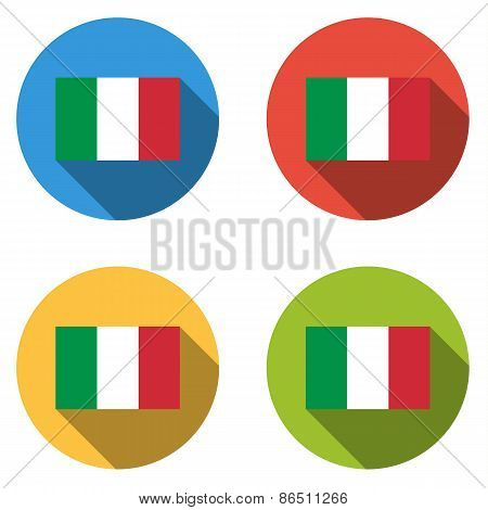 Collection Of 4 Isolated Flat Buttons (icons) With Italian Flag