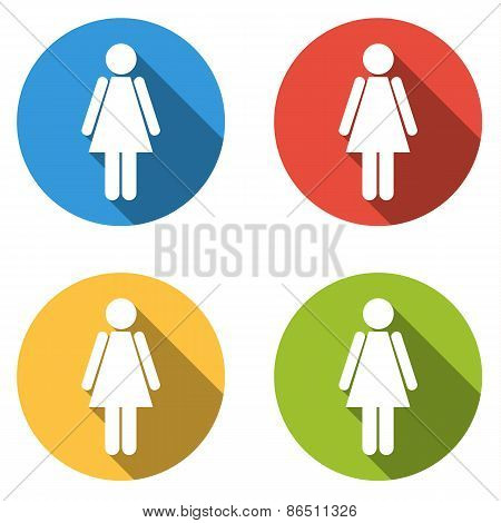 Collection Of 4 Isolated Flat Colorful Buttons (icons) For Woman (female)