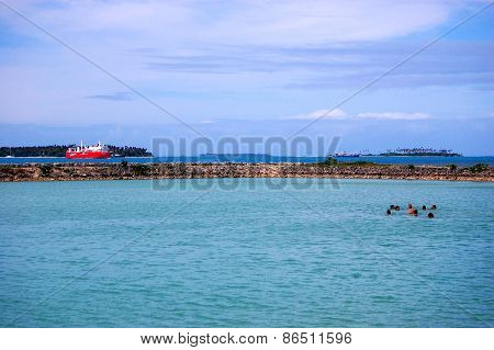 People Swimming Near Port, Tonga