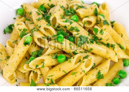 Tasty italian pasta with peas.