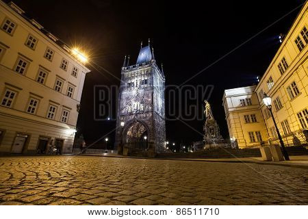 Prague, Old Town Tower Of Charles Bridge In The Night