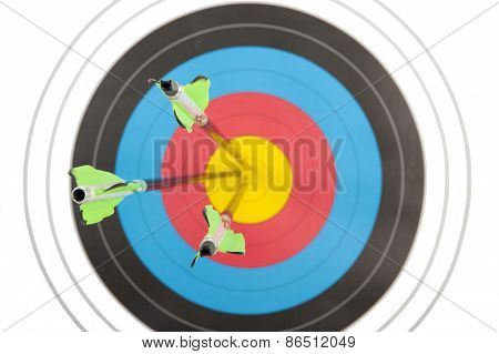 Bull's Eye Hit By Three Arrows