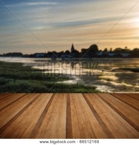 Beautiful Summer Sunset Landscape Over Low Tide Harbor With Moored Boats With Wooden Planks Floor