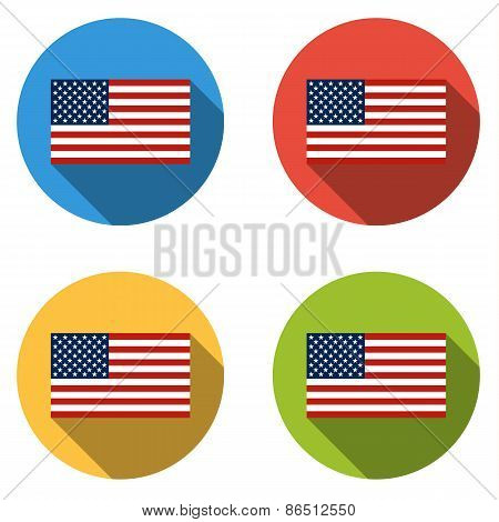 Collection Of 4 Isolated Flat Buttons (icons) With Usa Flag
