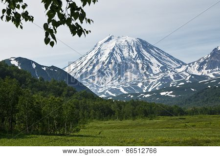 Beautiful summer view of Koriaksky Volcano - active volcano of Kamchatka Peninsula