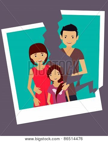 Divorce. Torn photo of a happy family. Vector illustration