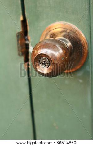 A Door Of An Old Door Knob