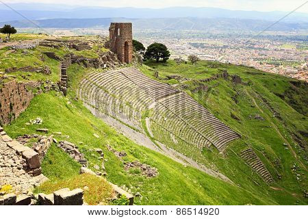 Ruins In Ancient Amphitheater Of Pergamon, Turkey