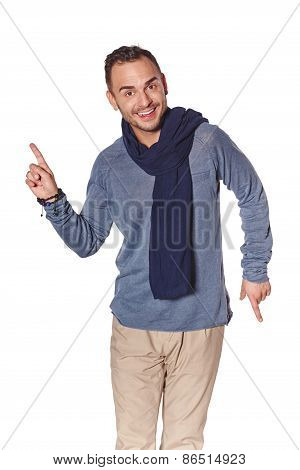 Trendy man pointing to the side