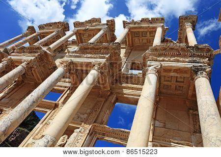 Facade Of Ancient Celsius Library In Ephesus Turkey
