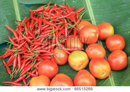 Thai Red Chili Peppers And Tomatoes