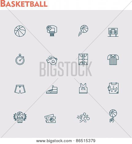Set of the basketball related icons