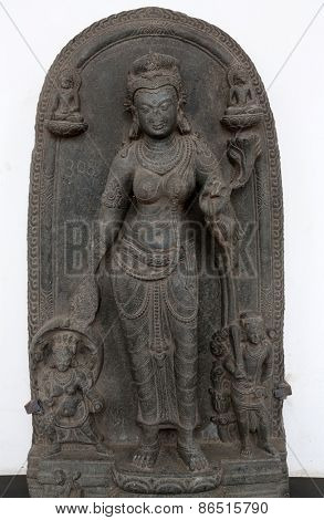 KOLKATA, INDIA - FEBRUARY 15: Tara, from 10th century found in Basalt, Bihar now exposed in the Indian Museum in Kolkata, on February 15, 2014