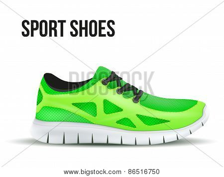 Running green shoes. Bright Sport sneakers symbol.