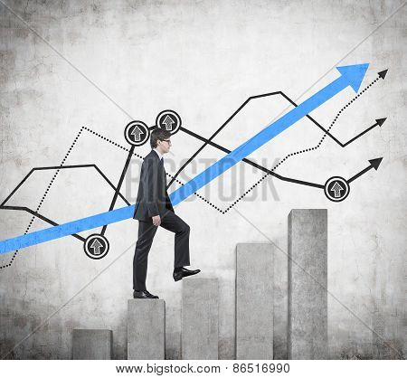 Businessman Walking On Graph