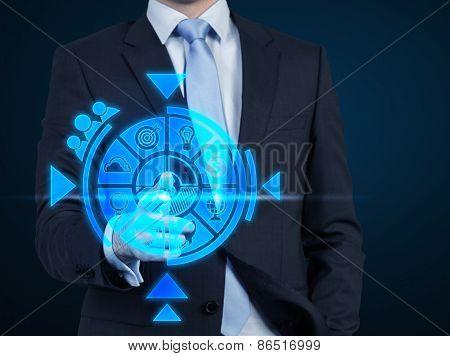 Businessman Pushing Business Scheme