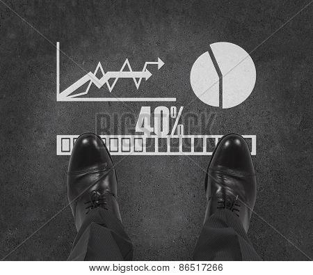 Businessman Standing On Chart