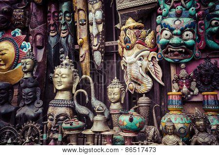 Souvenirs In Street Shop At Durbar Square In Kathmandu, Nepal.