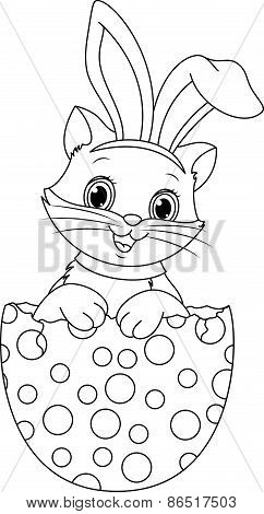 Easter cat coloring page