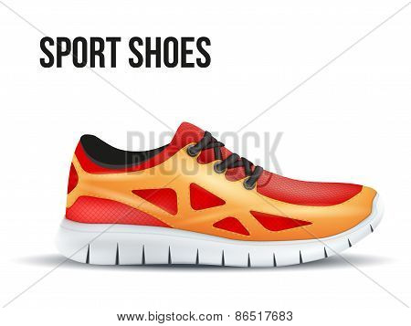Running red shoes. Bright Sport sneakers symbol.