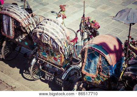 Rickshaw Is A Very Popular Type Of Public Transport In Cities In Nepal