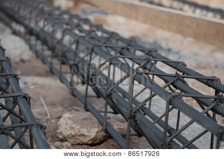 Steel rod for pole construction