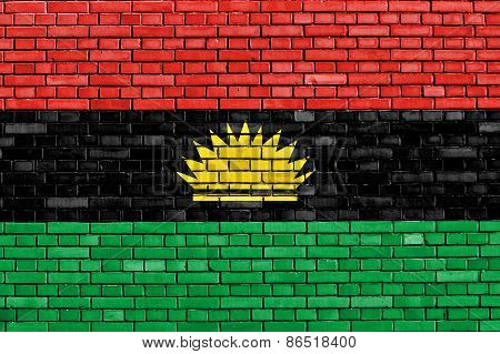 Flag Of Biafra Painted On Brick Wall