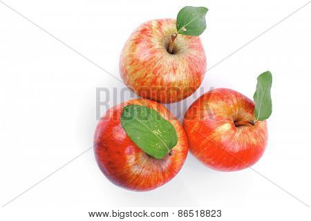 group of red fresh ripe apple isolated over white background
