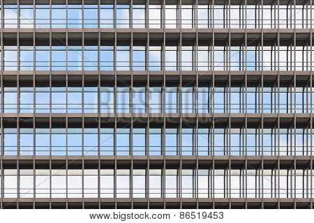 Geometrically Correct Architectural Background Of Modern Office Building Facade