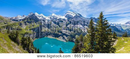 Panorama View Of Oeschinensee (oeschinen Lake) On Bernese Oberland