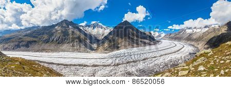 Panorama View Of The Aletsch Glacier On Mountains