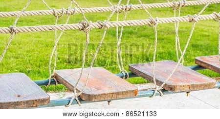 Selective Focus Image,group Knot Of Rope In Wooden Bridge.