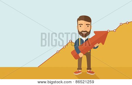 A lucky young  hipster Caucasian man with beard  carrying a red arrow pointing upward showing for his successful plan in business.  Business growth, prosperity concept. A contemporary style with