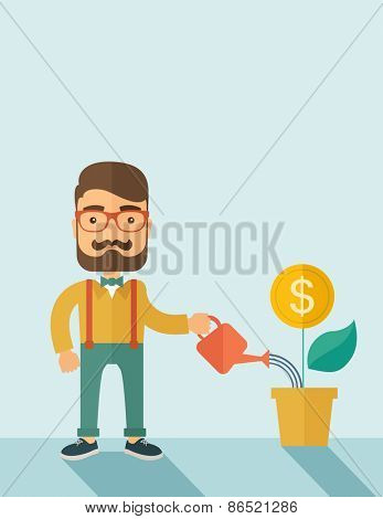 A  Stockholder, investor hipster Caucasian businessman with beard happily watering a plant with a dollar sign on the top of it. Career, investor concept.  A contemporary style with pastel palette soft