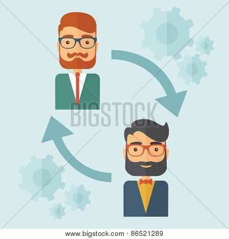 Two young Caucasian gentlemen with beard. Business exchange, emoloyee replacement concept. A contemporary style with paste palette, soft blue tinted background. Vector flat design illustration. Square