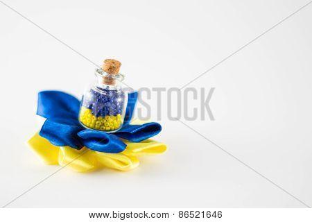 Ukrainian flag in a bottle