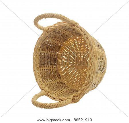 Empty Vintage Weave Wicker Basket Isolated