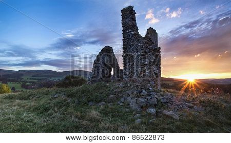 Horsburgh Castle at sunset, Scottish Borders