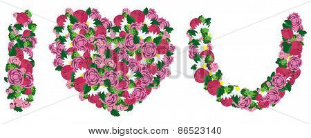 I love you made from heart and flower love concept vector