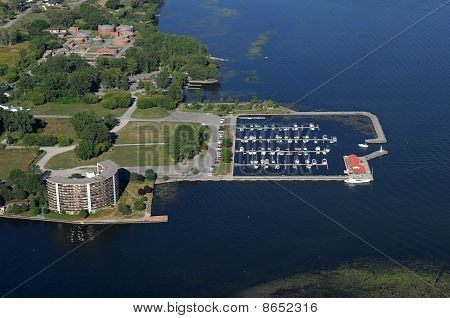 Aerial View Of The City Marina At The North American Town