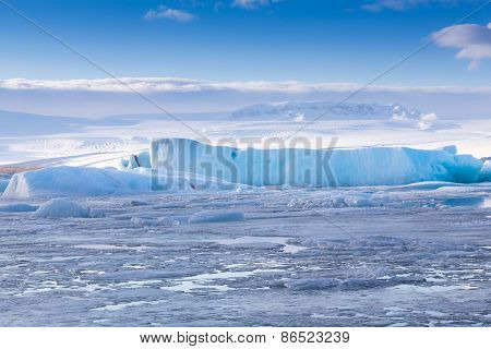 Ice lake in  jokulsarlon lagoon in Iceland