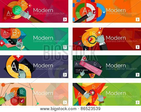Modern flat design infographic banners. Infographics, geometric shapes with hands