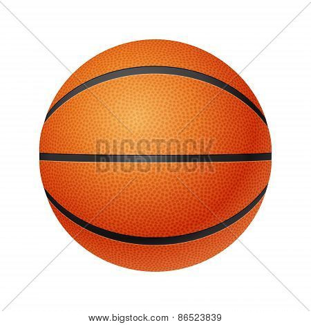 Basketball, front  view, isolated on white background.
