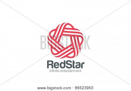 Infinity Loop Star Logo design vector template Line art style. Infinite Looped 5 five point star Logotype concept. Pentagon icon.