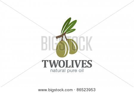 Two Olives Logo design vector template. Agriculture Farm Olive oil Logotype concept icon.