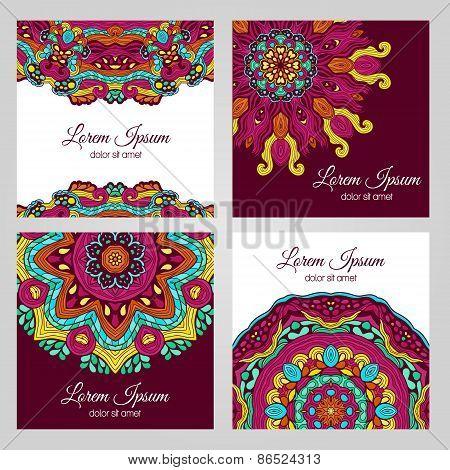 Colorful floral design elements